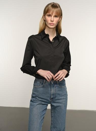 NGSTYLE NGSTYLE Kadın Poplin Rahat Fit Günlük Gömlek Siyah